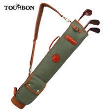 Tourbon 3-Way Vintage Leather Golf Bag Sunday Carry Golf Bag Practice Ball Bag