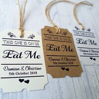 Eat Me Personalised wedding favour stickers gold
