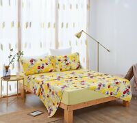 DaDa Bedding Sunshine Yellow Hummingbirds Floral Fitted & Flat Bed Sheets Set