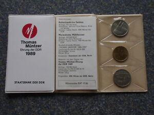 DDR 1989 Mappe Thomas Müntzer Ehrung 2x 5 Mark Zwickau & Mühlhausen Münztasche