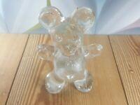 Vintage Bergdala Clear Glass Teddy Bear Paperweight, Sweden