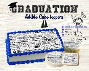 Graduation Edible Cake Strips Sugar wrap toppers sheet cookies cupcakes college