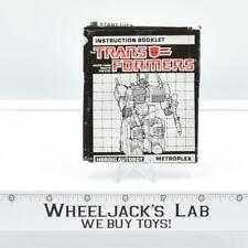 Metroplex Action Figure Instruction Manual 1985 Vintage Hasbro G1 Transformers