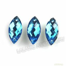 150x Faceted Embellishment Royal Blue Horse Eye Sew-on Flatback Button 7x15mm BS