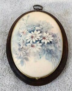 Vintage Domed Floral Ceramic Tile Wood Plaque Hanging Rough 1950s Textured Glaze
