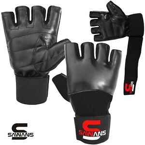 Leather Gel Tech MMA UFC Grappling Gloves Fight Boxing Punch Bag Training Gloves