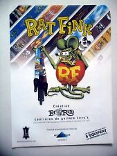 PUBLICITE-ADVERTISING :  Courroies LEVY'S - RAT FINK  07-08/2005