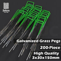 200pcs Grass Pegs Lawn Turf Weed Mat U Pins Stakes Steel Staples Anchor Lawn Sod