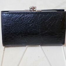 Vintage 50s Black Cowhide Leather Women's Wallet BiFold