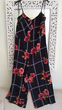 Zara Black Multi-coloured Floral Jumpsuit UK Size 10 M