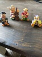 Vintage Miniature Circus Clown Figurines Collectible Lot of 4 Figures