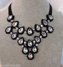 modernissima Collana di Cristallo,girocollo,Collier nastro nero,goccia bianca