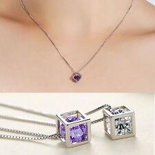 Fashion White/Purple Zircon Crystal Pendant Magic Cube DIY Necklace Pendent HOT