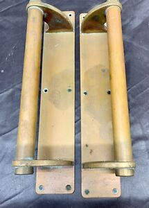 Antique Large Pair Of Brass And Copper Vintage Door Pull Handles
