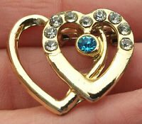 Vintage Double Heart Pin Brooch With Rhinestones Gold Tone