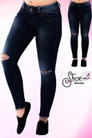Womens Ripped Knee Skinny Jeans Faded Slim Fit Ladies Denim Size 6 8 10 12 14