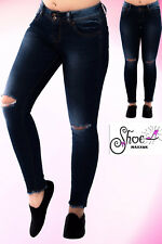 Womens Ripped Knee Skinny Jeans Faded Slim Fit Ladies Denim Size 6 8 10 12 14