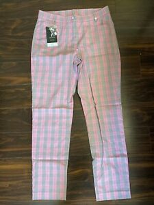 NWT Golfino Ladies Checked 7/8 Trousers 8264328 410 Pink Sz 8 10 NEW