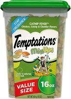 TEMPTATIONS Mixups Crunchy and Soft Cat Treats Catnip Fever Flavor, 16 Oz. Tub