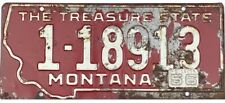 *99 CENT SALE*  1955 Base 1956 Montana License Plate Silver Bow County #18913 NR