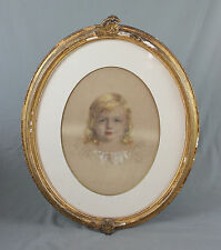 Three 19th Century Child Portrait Pastel Drawings by Agnes Deerden 1840-1890
