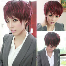fashion wine red pink ombre womens bob straight hair full wig cosplay short wig