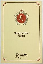 1983 Vintage ROOM SERVICE Menu RIVIERA HOTEL CASINO Las Vegas NV