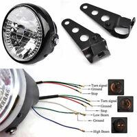 """7"""" LED Motorcycle Round Headlight H4 35W Turn Signal Light W/ Bracket Mount I1"""