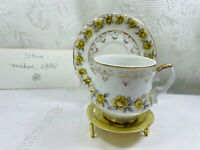 Vintage Inarco mini Tea Cup and Saucer,  Yellow Roses Gold Trim Made in Japan.