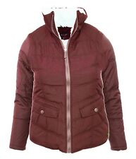 Size 12 14 16 18 Womens Bright Red Borg Fleece Lined Jacket Padded Ladies Coat