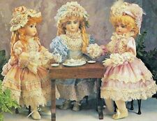 """17""""ANTIQUE FRENCH-GERMAN DOLL VICTORIAN LACE TRIM DRESS&HAT VARIATION PATTERN"""