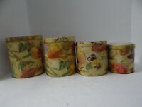 Vintage Fruit & Vegetable Nesting Tin Canisters Kitchen Set of 4