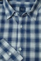 Saks Fifth Avenue Men's Blue & White Check Cotton Casual Shirt XXL 2XL