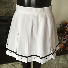 Team IXSPA Co Tennis  Skirt Embellished w/ Metal Studs   Box Pleats  White  8