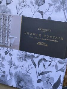 """New Envogue Home Fabric Shower Curtain """"Regonia"""" Gray Flowers/ White Cotton"""