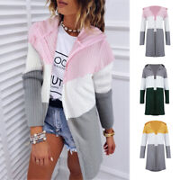 Women Hoodie Cardigan Knitted Sweatshirt Ladies Long Knitwear Cardigan Outwear