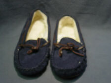 """WOMEN'S """"SONOMA"""" NAVY BLUE SLIP ON FAUX SUEDE CASUAL MOCCASIN SLIPPER SIZE 5-6"""