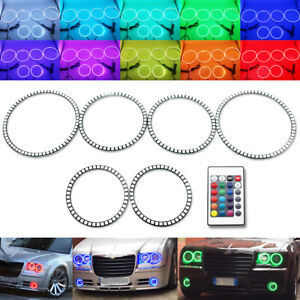 RGB 6 Halo Rings Kit For CHRYSLER 300C SRT 2004-2010 Fog Light Demon Angel Eyes