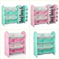 Kids Chest Toy Box Bookcase Storage Bin Organizer Bookshelf Girls Boys 4 Size