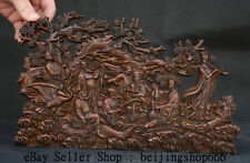"""11"""" Old China Boxwood Wood Carved Dynasty the Eight Immortals God Statue Screen"""