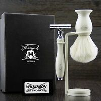 Vintage Double Edge Safety Shaving Razor With Badger hair shaving brush & Stand.