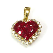 1.55 ct tw Natural Ruby & Diamond Solid 14k Yellow Gold Drop Heart Pendant