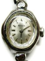 Wyler Silver Tone St. Steel Back Vintage Ladies Watch Swiss Made Wind Up- Runs