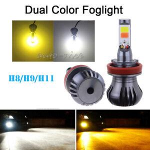 2x COB H8 H11 LED Fog Driving Cornring Light Bulb DRL Bright White&Amber Decoder