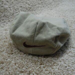Vintage Nike Golf Hat Cap Newsboy Cabby Beige Brown Leather Brim Size M