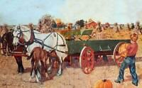 Harvest Time Pumpkins Farm Wagon  Draft Horses