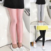 Kids Girls Pencil Trousers Thin Soft High Waist Leggings Skinny Slim Fit Pants