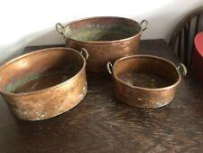 More details for 3 vintage oval copper pans brass handles preserve pans