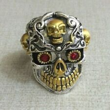 Skull Ring Mens Biker Ring Size 10 US Two Tone Stainless Steel Red Crystal Eyes!