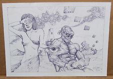 "Original Artist Signed Pen ""Thursday Reading Wife Waitress"" Spencer John Derry"